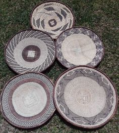 THESE ARE THE ACTUAL BASKETS YOU WILL RECEIVE. HAND MADE IN BINGA ZIMBABWE AND MEASURING 35 CM PLUS. AMAZING INTRICATE HAND WOVEN DESIGNS. All natural and locally harvested materials - such as wild grasses, small vines, and palm leaves dyed with tree bark - make up the baskets. | eBay!
