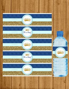 Prince Baby Shower Prince Water Bottle Label by welcometomystore Baby Girl Shower Themes, Baby Shower Decorations For Boys, Baby Shower Princess, Baby Boy Shower, Boy Printable, Baby Shower Printables, Wet Water, Royal Baby Showers, Baby Shower Desserts