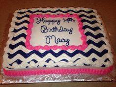 Navy, white, and pink chevron cake