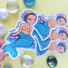 Mermaid Planner Sticker - Mermaid Print - Mermaid Art - Mermaid Gifts - Tropical Mermaids - Mermaid Gift - Mermaids Paper Stickers Atlantic Ocean, Pacific Ocean, Fantasy Characters, Beautiful Beaches, Planner Stickers, Panama, My Etsy Shop, Mermaid, Drawings