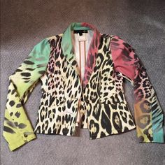 Just Cavalli amazing blazer  What can I say except WOOZA this is smoking hot  amazing colors 100% Authentic trades no low balling Just Cavalli Jackets & Coats Blazers