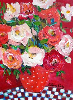 Red Still life Floral Original Painting 16 x by ElainesHeartsong, $90.00