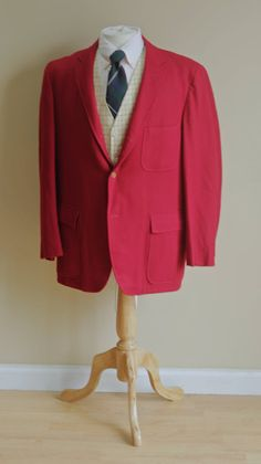 Sale Vintage 1960s Men's Blazer - 42R Red Ivy League 3/2 Roll Sport Coat - Trad Wedding