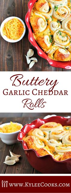 Buttery, garlicky and cheesy, soft – all good words to describe these rolls! Fabulous is also quite accurate!  I love a good cinnamon roll – making them is a lot of fun to me, I enjoy the whole process, especially the eating.  These buttery garlic cheddar