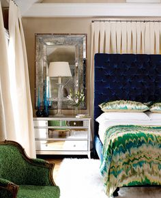 This is such a gritty glamorous modern interpretation of a Victorian bedroom room love the unexpected mixing of textures and colors!