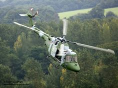 A Lynx Mk 7 of the Army Air Corps (AAC) is shown flying over Bramley Training area near Basingstoke.