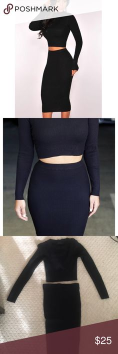 Super sexy black sweater skirt and top two piece Super sexy black sweater top and matching pencil skirt! Perfect to wear with booties or some cute heels. Dresses