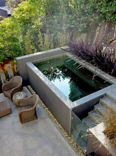 design with a small plunge pool to relax - Lanzi -Invigorating garden design with a small plunge pool to relax - Lanzi - Pools 32 Awesome Swimming Pools Backyard Landscaping Ideas - Pool Design Inspiration Small Indoor Pool, Small Outdoor Patios, Small Backyard Landscaping, Small Patio, Backyard Patio, Landscaping Ideas, Small Pools, Small Backyards, Backyard Ideas