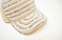 gorras decoradas con perlas - Buscar con Google Ball Caps, Fashion Kids, Refashion, Caps Hats, Hats For Women, Gold Rings, Rose Gold, Bling, Google