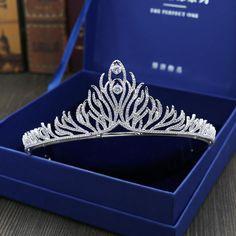 Luxury Silver Zircon Bridal Tiaras Hair Ornaments Wedding Hair Accessories Crystal Rhinestone Prom Crown Bride headpieces HG622 #Affiliate