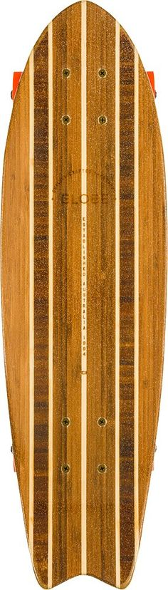 """GLOBE HG Sagano Cruiser Board, Natural, 26-Inch. 26"""" x 7.5"""" 100% bamboo retro mini cruiser with moderate concave, nose and tail. 4.25"""" Slant trucks. 56mm 78a retro wheels. Cross cut and spliced bamboo top and bottom face layers with a solid bamboo core makes this board crafted from completely renewable wood sources. GLOBE-First nature-based Eco-Resin for a strong, earth-friendly construction."""