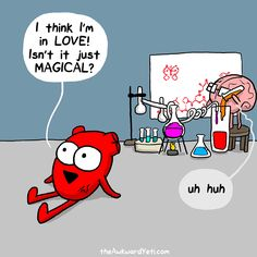 """30 Cute Comics From The Awkward Yeti - Funny memes that """"GET IT"""" and want you to too. Get the latest funniest memes and keep up what is going on in the meme-o-sphere. Cute Comics, Funny Comics, Heart And Brain Comic, The Awkward Yeti, Akward Yeti, Funny Jokes, Hilarious, Science Jokes, Calvin And Hobbes"""