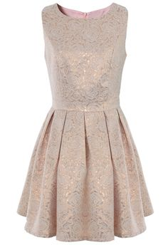 Rose Embossed Sleeveless Dress// ... Such a pretty dress, but on the website where its for sale, it looks ridiculously short, like, just-covering-the-butt-short. :(