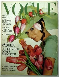 Julie Christine wearing a Dress by Christian Dior and a Hat by Halston,photograped by Richard Avedon for Vogue Paris.April 1967.