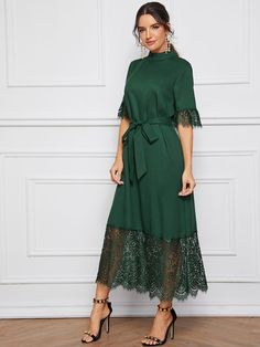 Mock-Neck Lace Cuff and Hem Self Belted Dress Elegant Dresses For Women, Stylish Dresses, Simple Dresses, Pretty Dresses, Beautiful Dresses, Casual Dresses, Fashion Dresses, Dresses For Hijab, Dresses Dresses