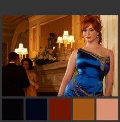 Paleta de cor da foto de divulgação da sexta temporada de Mad Men. Para saber mais sobre o mood vintage luxuoso, acesse: www.moodhunter.com.br
