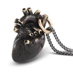 Blackened Anatomical Heart Necklace at shanalogic.com