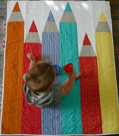Modern Colored Pencil Unisex Baby Quilt and por LordandLittle