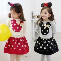 Baby Girls Long Sleeve Cute Animal Pattern Tops T-shirt And Skirt Set