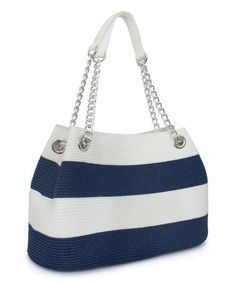 Navy & White Stripe Tote