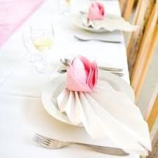 Folded napkins as rose The napkin folds in the form . Napkins fold as a rose The folding napkin in the form of a rose is not very Napkin Origami, Paper Napkin Folding, Paper Napkins, Serviettes Roses, Table Etiquette, Pom Pom Crafts, Wedding Place Settings, Leaf Template, Wedding Napkins
