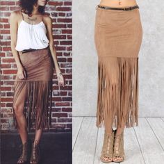 KAMA suede fringe skirt - CAMEL Super fun & boho chic fringe skirt with skinny belt included.,Sure to dazzle! I will also stock the top but it's currently on back order. NO TRADE, PRICE FIRM Bellanblue Skirts