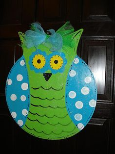 Wise Owl door hanging decoration Sorority  mascot by merrymerchant, $24.00 Owl Door Decorations, Wise Owl, Wood Cutouts, Beginning Of School, Door Hangers, Sorority, Craft Things, Hand Painted, Handmade Gifts