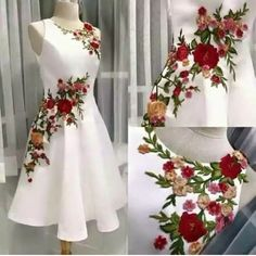 Embroidery flowered Prom Dress,A-line Homecoming Dress, Short Party Dress White Evening dress Ball Dresses, Cute Dresses, Beautiful Dresses, Short Dresses, Party Dresses, Elegant Dresses, Dresses Dresses, Dress Party, Ball Gowns Evening