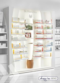 Dr. Hauschka Wallunit made by ARNO Group Pos Display, Point Of Sale, Arno, Retail Design, Pharmacy, The Unit, Shelves, Marketing, Dressing