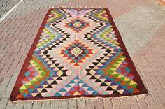 1950s+rugs   VINTAGE Turkish Diamond Milas Kilim Rug Carpet circa 1950 , 66'' X 111 ...