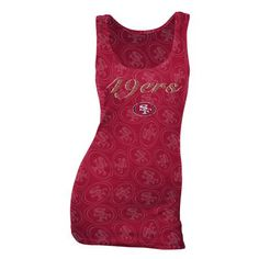 San Francisco 49ers Women's Burnout Logo Ribbed Tanktop (Red)