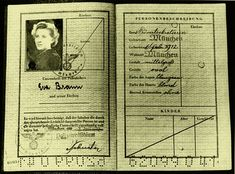 """gretacigarettes: """"Eva Braun Personalausweise (ID Card) I have never seen this one, and now, all the """"mystery"""" about the eye color of Eva is revealed. In her personal description, says: Color of eyes:..."""