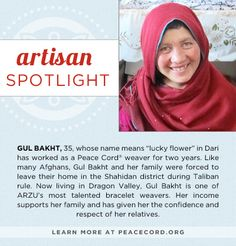 #Artisan Spotlight: Peace Cord® weaver, Gul Bakht. #fairtrade #afghanistan
