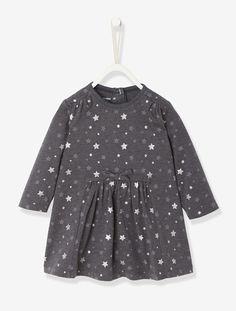 Stern-Kleid für Baby Mädchen ANTHRAZIT BEDRUCKT