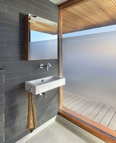 Architecture, Modern Villa House Bathroom Interior Decorating Ideas With Black False Brick Wall And Small Wall Mirror Plus Hanging Wash Basin In The Corner Plus Wood Cladding Ceiling: The Breathtakingly Elegant Contemporary Home Villa Rieteiland-Oost False Ceiling Design, Villas, Amsterdam Houses, Small Wall Mirrors, False Ceiling Living Room, Wood Cladding, Showroom, Timber Frame Homes, Ceiling Decor