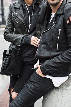 Leather Partner in crime! Couple goals you can call this, both a tough leather jacket. Fashion Couple, Cute Fashion, Mens Fashion, Fashion Trends, Fashion Ideas, Estilo Popular, Couple Goals Cuddling, Estilo Rock, Couple Outfits