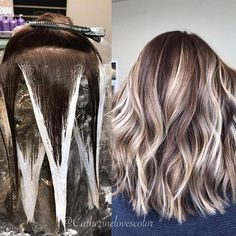 Trendy Hair Highlights : Balayage application & finished +Tips - Haarfarben Ideen Hair Color Highlights, Hair Color Balayage, Balayage Hair How To, How To Ombre Your Hair, Balayage Highlights, Highlights At Home, Colorful Highlights In Brown Hair, Diy Ombre Hair, Brown Hair With Highlights And Lowlights