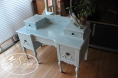 Antique dressing table / makeup table refinished by Sara's Vintage Touch with chalk paint ~ Maison Blanche's Antique Blue.  Glazed in white and waxed.    https://www.facebook.com/SarasVintageTouch