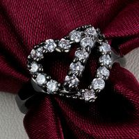 2015 Fine Jewelry Heart Zircon Crystal Ring Fashion Engagement Couple Ring, 10KT Black Gold Rings Exaggerated Wedding Ring