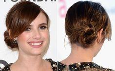 O coque baixo de Emma Roberts é bem mais despojado: primeiro, ela faz um rabo de cavalo baixo e puxado para a direita. Depois, apenas enrola os fios em um coque soltinho. Fácil, né?