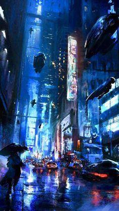 Arte Cyberpunk, Ville Cyberpunk, Cyberpunk City, Futuristic City, Cyberpunk Anime, Futuristic Architecture, Syd Mead, Arte Sci Fi, Sci Fi City