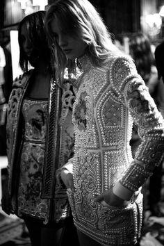Balmain | fully beaded | long-sleeve mini dress | embellishment | epaulets | high fashion