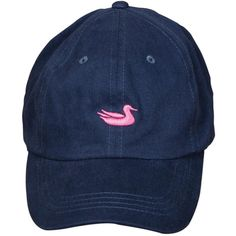Southern Marsh Navy & Pink Duck Baseball Cap ($13) ❤ liked on Polyvore featuring accessories, hats, navy blue baseball cap, navy hat, adjustable baseball caps, pink baseball hat and baseball hats