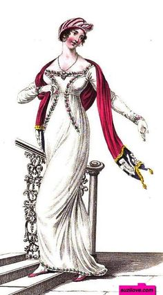 1811 February.  Evening Dress, English. White Empire style dress with interesting floral trim on bodice, pink draping shawl, long gloves, and evening hat.  Fashion Plate via John Belle's 'La Belle Assemblée'.   suzilove.com