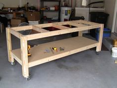 Plans of Woodworking Diy Projects - Wood Profits - Afficher limage dorigine - Discover How You Can Start A Woodworking Business From Home Easily in 7 Days With NO Capital Needed! Get A Lifetime Of Project Ideas & Inspiration! Garage Workbench Plans, Building A Workbench, Workbench Designs, Building A Garage, Woodworking Workbench, Woodworking Projects Diy, Diy Projects, Workbench Ideas, Workbench Top