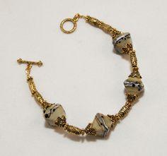 Antiquity style ivory lampwork bead bracelet by Dinglefritz