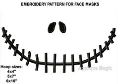 Face Mask Jack  Machine Embroidery Design Pattern 4x4 5x7 6x10 INSTANT DOWNLOAD by AppliqueMagic on Etsy Machine Applique Designs, Machine Embroidery Patterns, Different Types Of Fabric, W 6, Sell On Etsy, Pattern Design, Handmade Items, Etsy Seller, Needlework