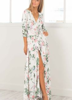 thumbnail - Pink and White Wrap Floral Maxi Dress