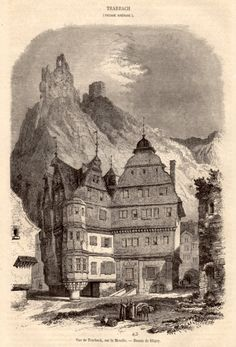 1860 Traben Trarbach Antique Print Wood Engraving by Craftissimo