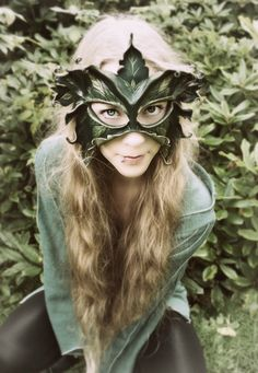 Sculpted Leather Mask - Lady Of The Leaves - Greenwoman, Dryad, Tree Spirit by beadmask on Etsy
